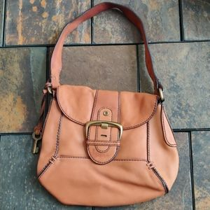 Fossil Leather Handbag Brass Details With Strap